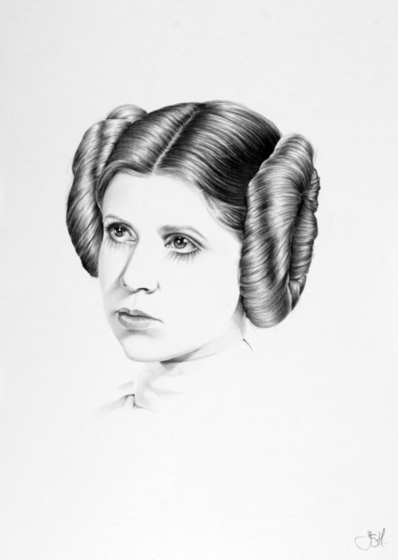 Carrie Fisher Pencil Drawing Fine Art Portrait Signed Print image 0