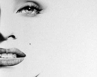 Marilyn Monroe Minimalism Pencil Drawing Fine Art Portrait Signed Print