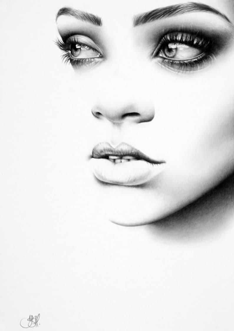 Rihanna Original Pencil Drawing Minimalism Fine Art Portrait image 0