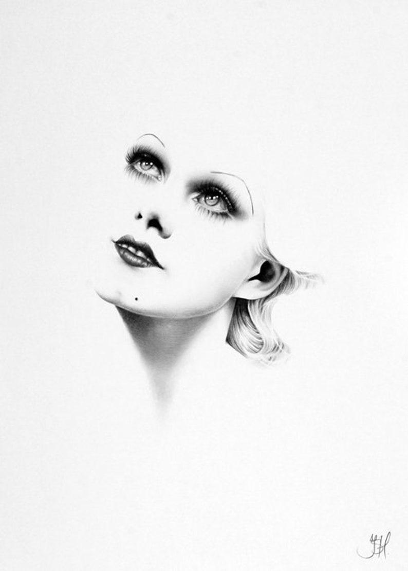 Jean Harlow Minimalism Original Pencil Drawing Fine Art image 0