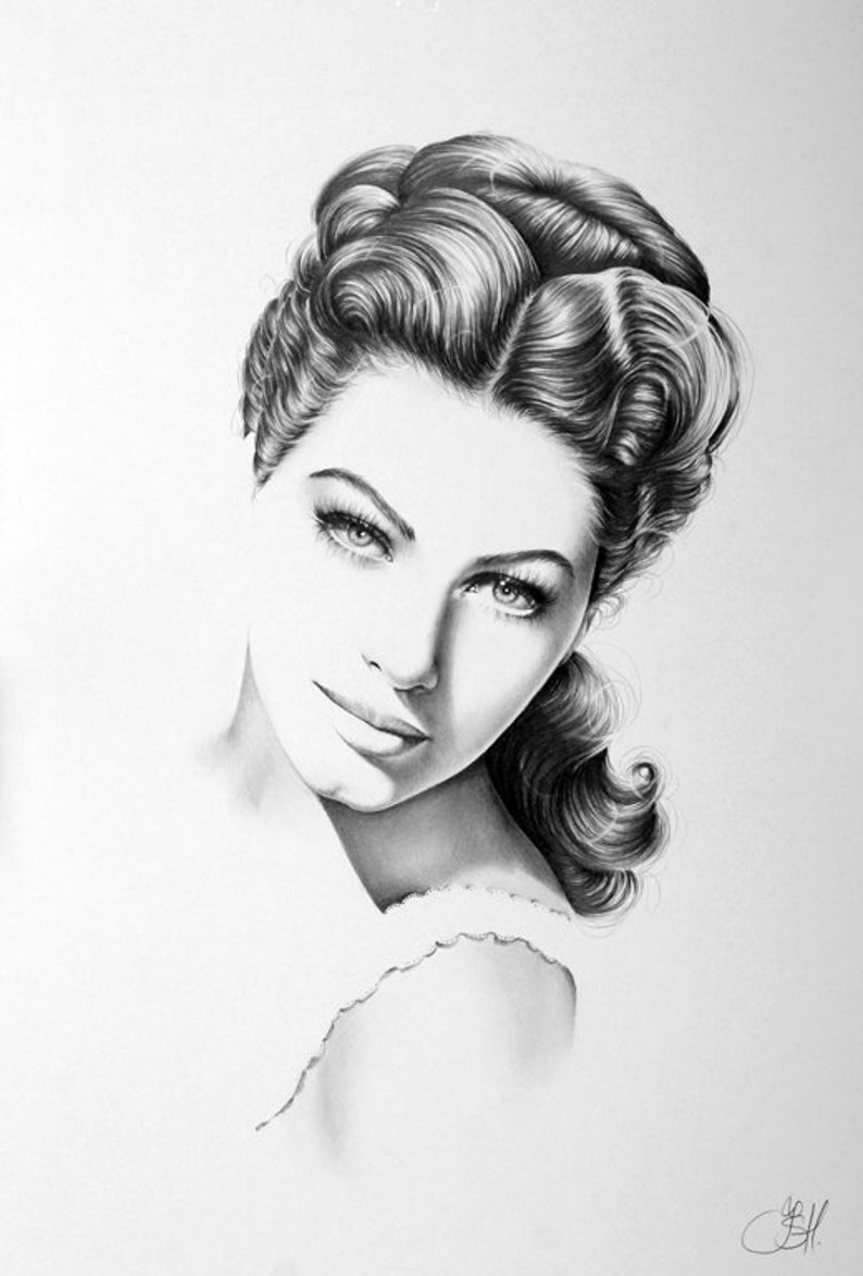 Ava Gardner Fine Art Print Pencil Drawing Portrait  Hand image 0