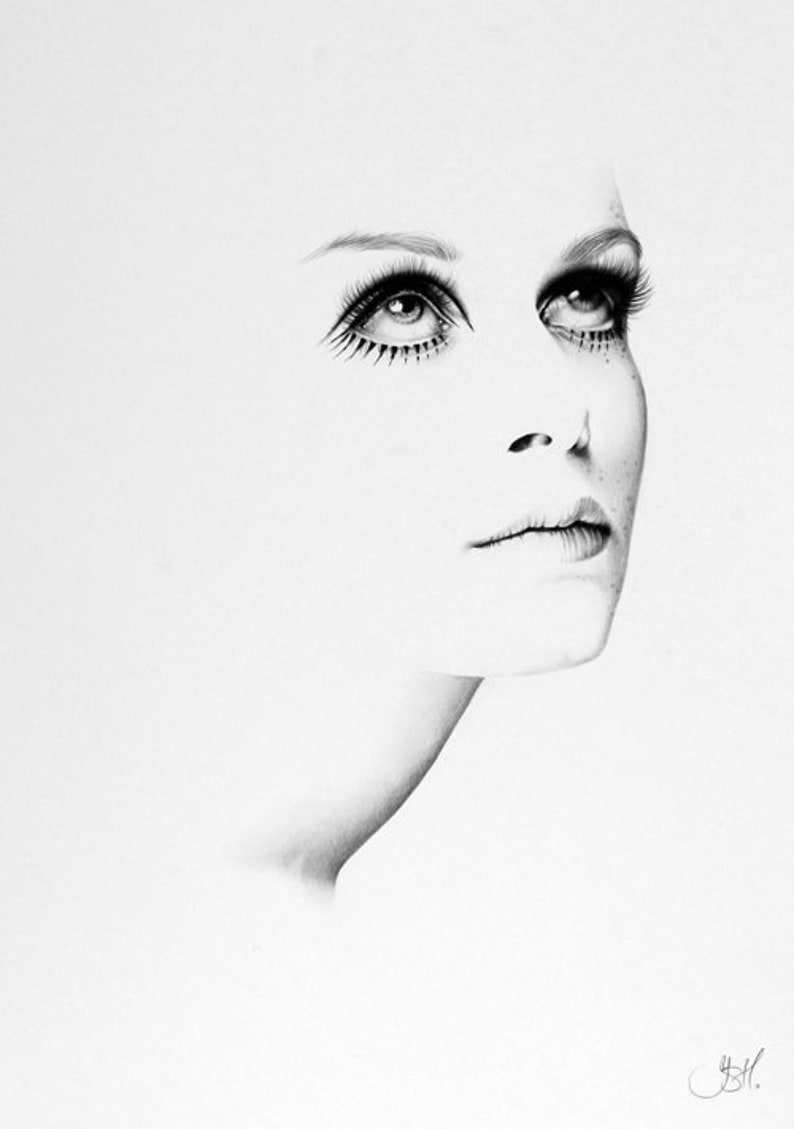 Twiggy Minimalism Original Pencil Drawing Fine Art Portrait image 0