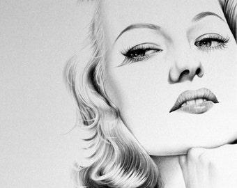 Rita Hayworth Pencil Drawing Fine Art Portrait Print Hand Signed