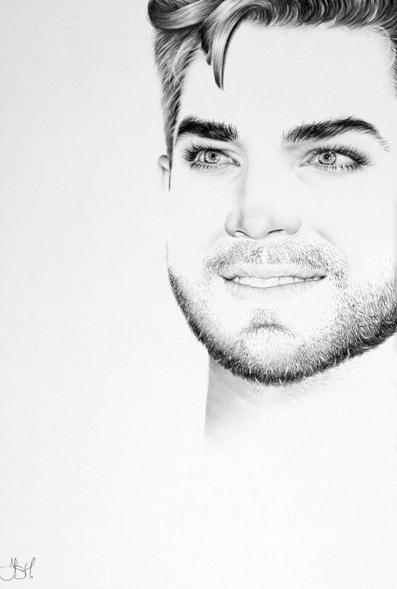 Adam Lambert Pencil Drawing Fine Art Portrait  PRINT Hand image 0