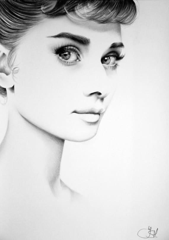 audrey hepburn fine art pencil drawing portrait signed print etsy