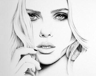 Scarlett Johansson Fine Art Pencil Drawing Portrait Print Hand Signed
