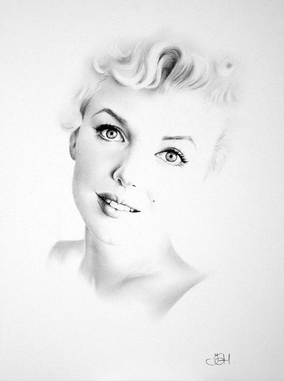Marilyn Monroe portrait graphite drawing Art Print signed