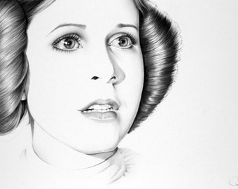 Carrie Fisher Pencil Drawing Fine Art Portrait Signed Print