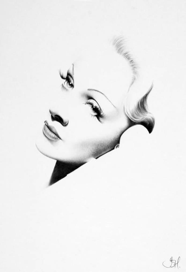 Marlene Dietrich Print Pencil Drawing Fine Art Portrait Signed image 0