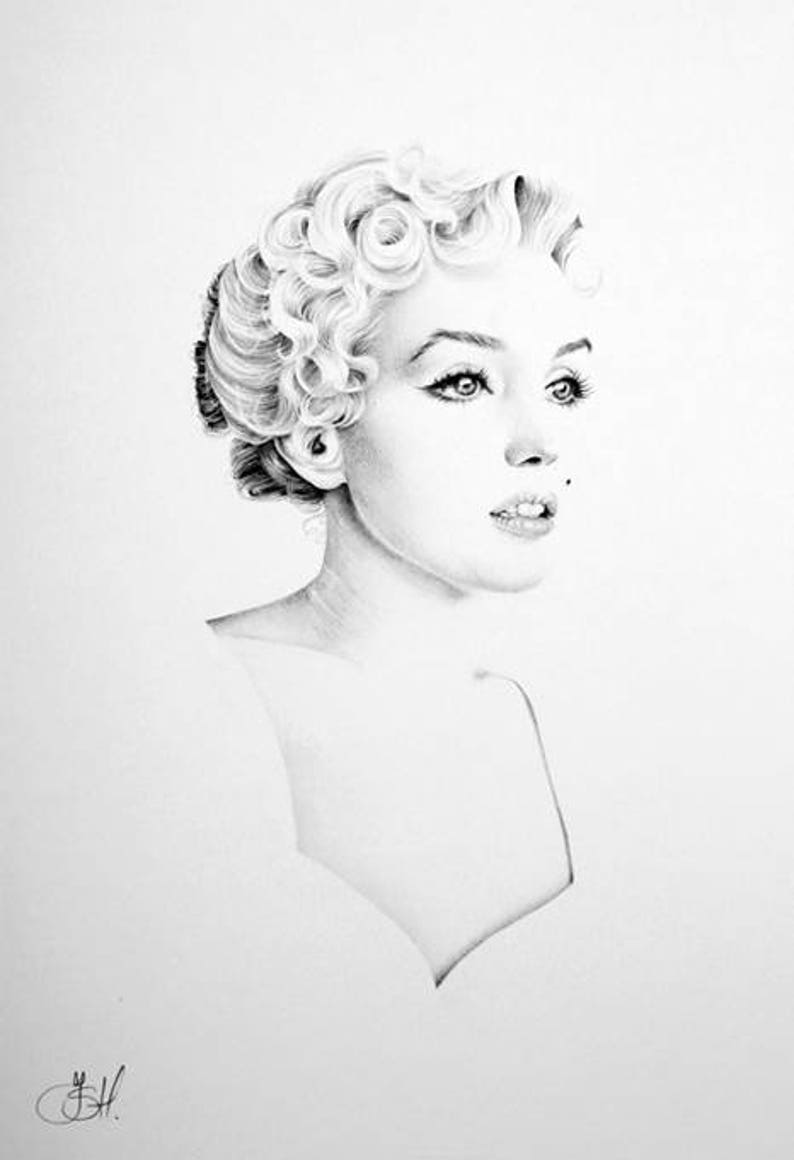 Marilyn Monroe Minimalism Original Pencil Drawing Fine Art image 0