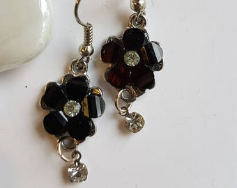 Black Floral Dangle Earrings