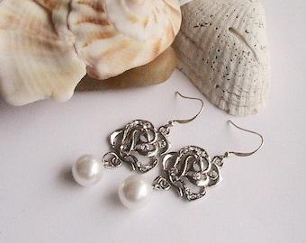 Silver Rose Pearl Earrings, Pearl Earrings, Silver Earrings, Rose Earrings, Wedding, Bridesmaids, Bridal