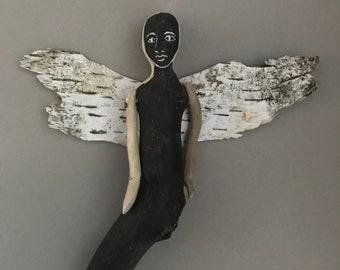 Black Driftwood Angel - Wall Art - Guardian Angel - Wall Decor- Hanging Sculpture - Art for Small Space