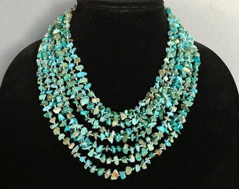 Multi-strand Turquoise Necklace - Hand knotted Turquoise Nugget Necklace - Graduated 8 strand Turquoise Chip necklace