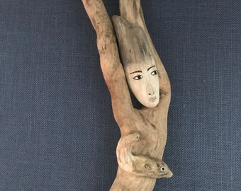 Hand Carved Driftwood Wall Hung Angel -  Whittled Wooden Angel - Wood Angel - River Goddess Angel - Mermaid - Wall Decor - Wall Art
