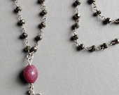 Silver Shiva and Pyrite Rosary Necklace with Ruby Bead