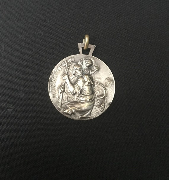 Large Vintage St Christopher medal - Pope John XX… - image 9