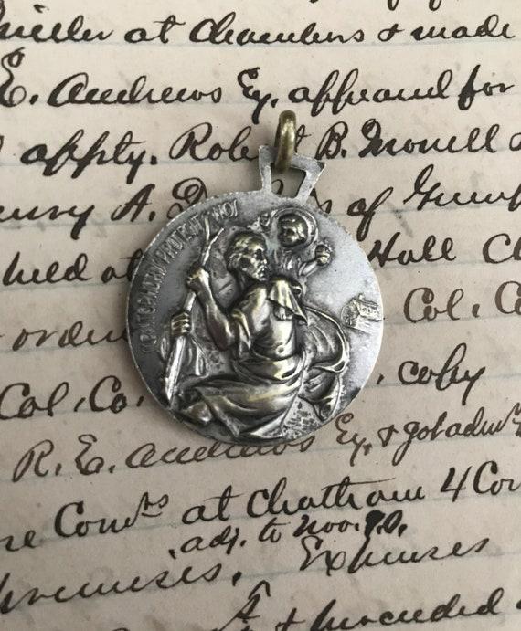 Large Vintage St Christopher medal - Pope John XX… - image 6