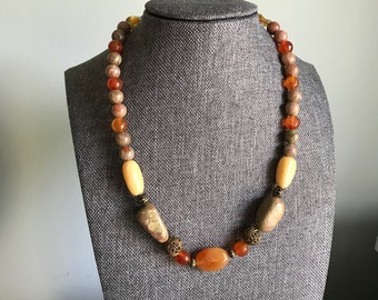 """Carnelian, Jasper and Aventurine beaded necklace - Mothers Day Gift - vintage gold tone openwork beads, 18"""" beaded necklace, Tumbled Stone,"""