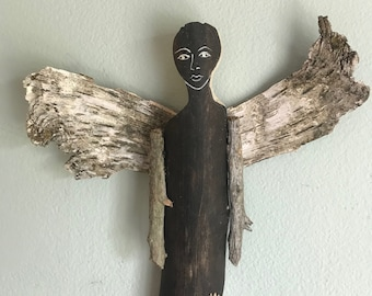 Driftwood Angel - Carved Wood Angel - Guardian Angel - Wood Spirit - Wooden Angel - Wall Decor