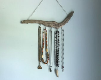Natural Driftwood Jewelry Organizer to display your favorite Necklaces - Boho Necklace Hanger to display Jewelry - Gift for Her