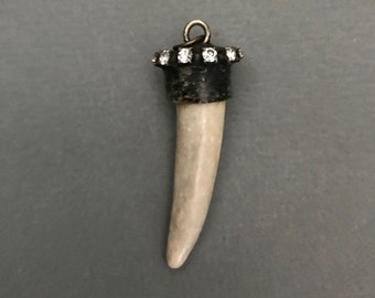 Antler Tip Pendant in Heavy Brass Mounting with Crystal Rhinestones -  Deer Elk Horn Necklace with Lead Free Copper Soldered End Cap