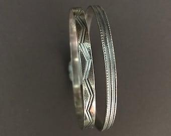 Vintage Sterling Silver bangle bracelets - Pair of  925 Sterling Bangles - 1970 Sterling Silver slip on bracelets - Patterned Lightweight