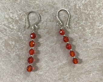 Carnelian Drop Earrings - sterling French wires - Faceted Carnelian Beads with sterling bead spacers - Valentine's Gift for Her