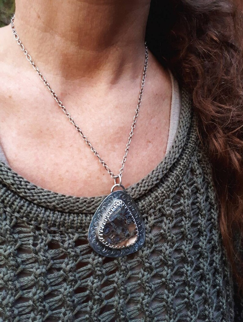 Turkish stick agate pendant Artisan sterling silver stamped pendant