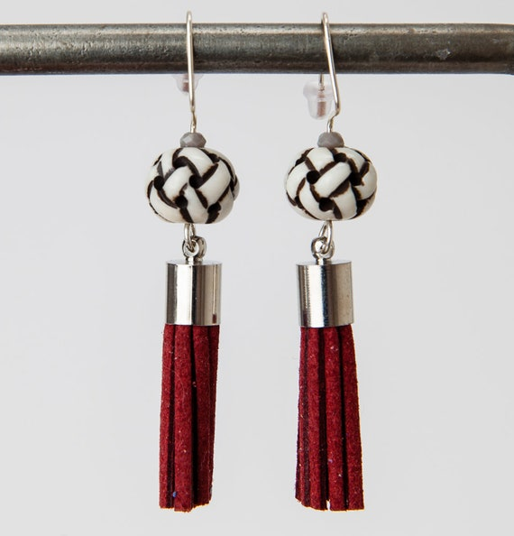 Bone Earrings with Red Faux Suede Tassel