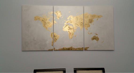 3 piece extra large gold leaf 36 x 72 original world map gumiabroncs Images