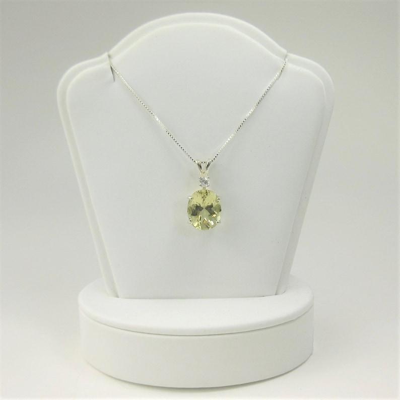 Lemon Quartz 12x10mm 3.45ct White Zircon Sterling Silver Necklace Pendant