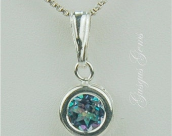 Blue Mystic Topaz Necklace Sterling Silver 6mm Round 1ct In Backset Bezel