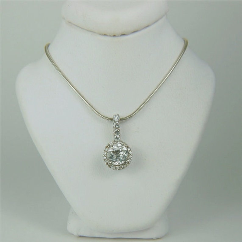 White Topaz Necklace Sterling Silver 6mm Round 1ct Surrounded By A Halo of CZ/'s