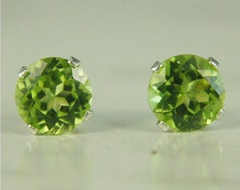 Peridot Stud Earrings Sterling Silver 6mm Round 2ctw Natural Untreated