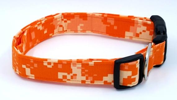 Collier de chien militaire de Camouflage lumineux Orange Digital Camo