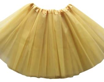 "Dark Gold Adult XXL Tutu 4-Layer / Plus Size Tutu / Waist Stretch 30-56"" / Fast Shipping / Bachelorette, IE_4XXL_OGld"