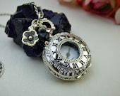 18th Century Silver Necklace Watch - Victorian Era - Watch Pendant Locket -