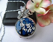 18th Century Antique Style Cherry Blossom Pocket Watch Pendant Necklace, 20-24 quot Sterling Silver or 24-30 quot Silver Plated Chain