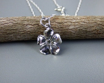 Cherry Blossom Necklace - Sterling Silver Cherry Blossom Charm Necklace, Sterling Silver Twist Chain, Gift Boxed