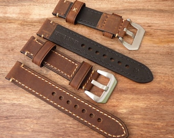 Coffee Brown Leather Watch Band -  20mm and 22mm Watch Band - Smooth flexible leather - Hand Stitched Watch Strap - Item 12074br