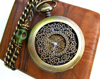 Airship Pirate Pocket Watch, Filigree Engraved Antique Bronze Mechanical Pocket Watch, Pocket Watch Chain - Men - Steampunk - Item MPW41-SG