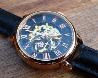 On Sale, Copper Luxury Automatic Wrist Watch, Women's Watch, Black Leather Watchband - Item MWA-083blk