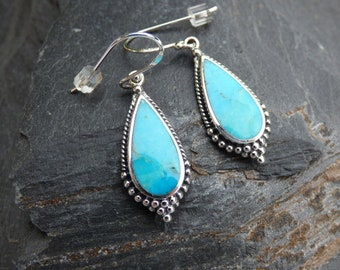 Genuine Turquoise Gemstone Earrings - Pure sterling silver, Gift Boxed ready to give