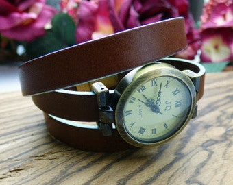 Chocolate Brown Leather Wrap Around Watch - Turquoise edge, Bronze Wrist Watch - Women's Watch - Made to order - 1,2 or 3 Wraps