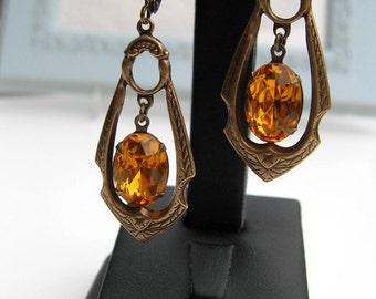 Antique Bronze Topaz Earrings - Art Deco Gatsby Style - Vintage Rhinestone Jewel - Estate Style