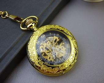 Premium Pocket Watch, w/Pocket watch chain, Personalized, Gold & Black Watch, Groomsmen's Gift, FREE Shipping - Item MPW186