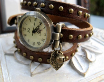 Nature's Best Wrap Around Brown Studded Leather Wrap Watch - Wrist Watch - Leaf & Bell Charm - Nature/Tree Lovers Watch