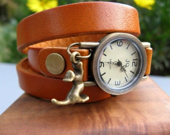 Sale - Charming Kitty Wrap Around Brown Leather Wrap Watch - Leather Bronze Wrist Watch - Kitty Charm - Cat Lovers Watch