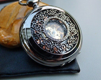 Premium Pocket Watch with 15 inch Watch Chain, Men's Watch, Engraved, Black Watch, Groomsmen Gift, Gift Boxed - Item MPW90
